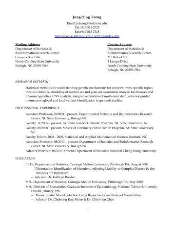 Jung-Ying Tzeng - NCSU Statistics - North Carolina State University