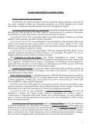 Le pari opportunità tra uomini e donne - Comitato Unico di Garanzia