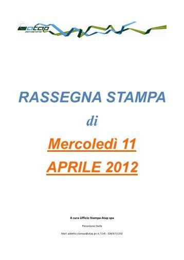 Rassegna stampa di mercoledì 11 aprile 2012 - Atap