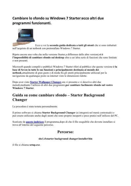 Cambiare Lo Sfondo Su Windows 7 Starterecco Altri Due Altervista