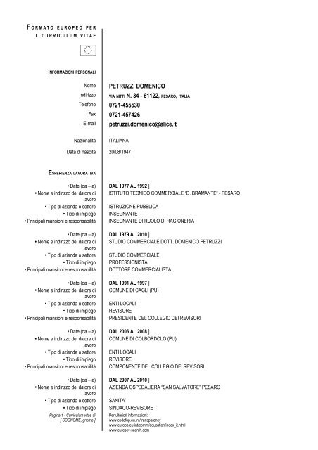 Formato Europeo Per Il Curriculum Vitae Modello Studio Petruzzi