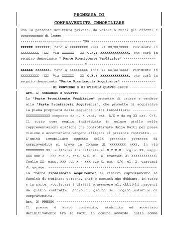 Contratto preliminare compravendita servizinisi it - Scrittura privata rilascio immobile locato ...
