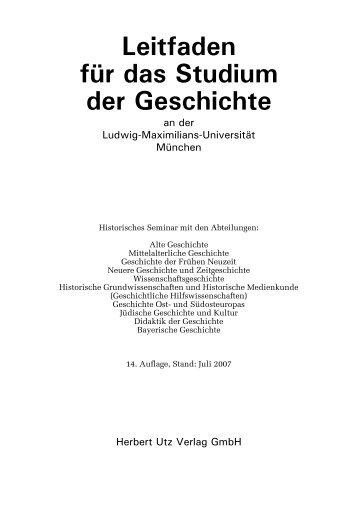Leitfaden für das Studium der Geschichte - Historisches Seminar ...