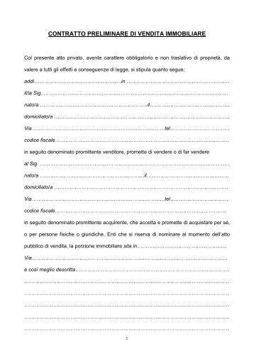 Vendita di cosa altrui contratto preliminare di ven - Contratto preliminare esempio ...