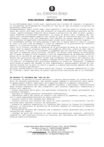Contratto preliminare di compravendita studio legale for Registrazione contratto preliminare
