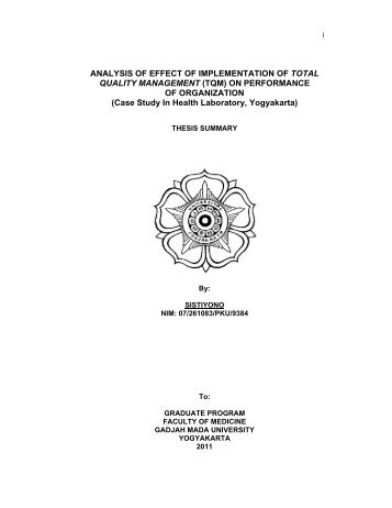 ANALYSIS OF EFFECT OF IMPLEMENTATION OF TOTAL QUALITY ...