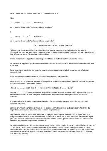 Art 8 prezzo e con for Registrazione contratto preliminare