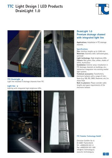 TTC Light Design | LED Products DrainLight 1.0 - TTC Technology
