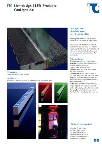 TTC Lichtdesign | LED-Produkte ConLight 2.0 - TTC Technology