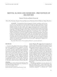 MENTAL ILLNESS AND HOMICIDE – PREVENTION OF RECIDIVISM