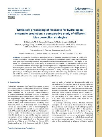 Statistical processing of forecasts for hydrological ensemble ...