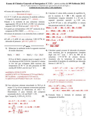 Esame di Chimica Generale ed Inorganica (C.T.F) - prova scritta del ...