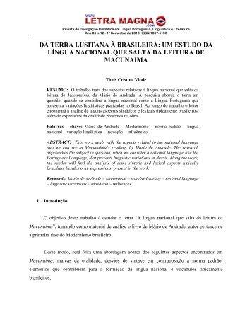 da terra lusitana à brasileira - Revista Letra Magna