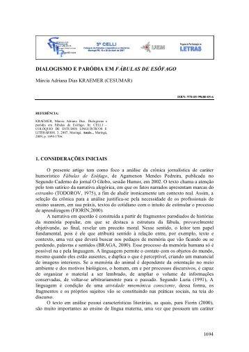 DIALOGISMO E PARÓDIA EM FÁBULAS DE ESÔFAGO