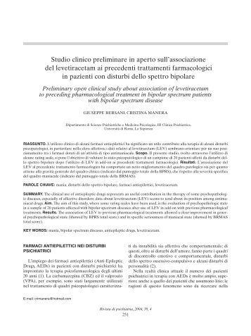 Studio clinico preliminare in aperto sull'associazione del ...