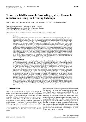 Towards a GME ensemble forecasting system: Ensemble ...