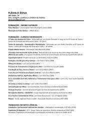 o currículo completo de Flávia D'ávila - Grupo Teatro do Imprevisto!