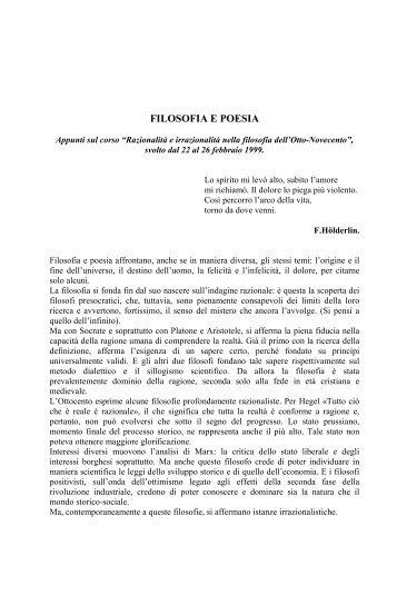 Filosofia e poesia Rosanna Sciutti - Portale per l'educazione