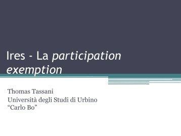 La participation exemption - Università di Urbino - Università degli ...