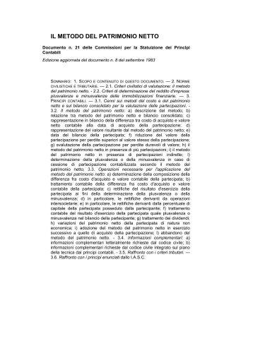 Documento n. 21: Il metodo del patrimonio netto