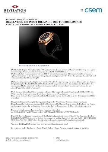 pressemitteilung – revelation und das csem an der baselworld 2013