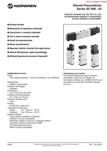 Valvole Pneumatiche Series XF V60 - 63 - Norgren
