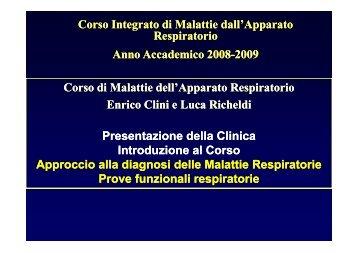 Presentazione della Clinica - Clinica malattie apparato respiratorio