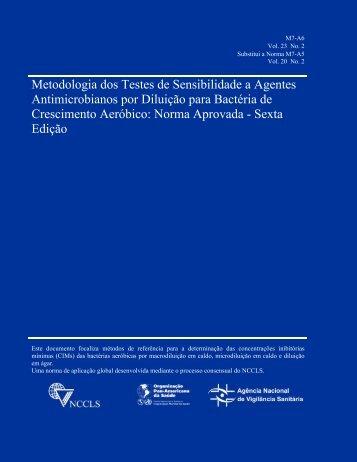 Metodologia dos Testes de Sensibilidade a Agentes - Sociedade ...