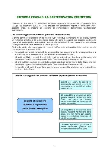 riforma fiscale: la partecipation exemption - Studio Camillo