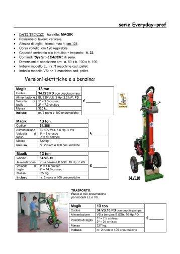 serie Everyday-prof Versioni elettriche e a benzina: - Thor Italy