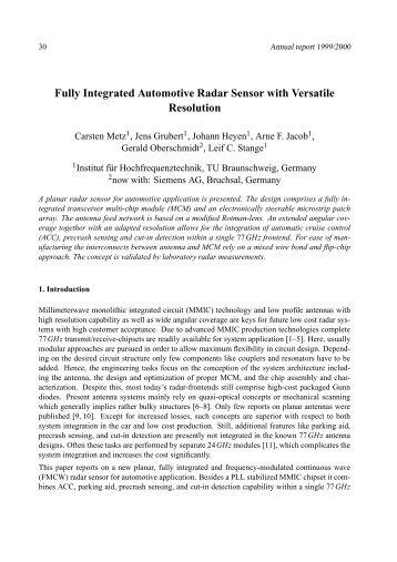 Fully Integrated Automotive Radar Sensor with Versatile Resolution