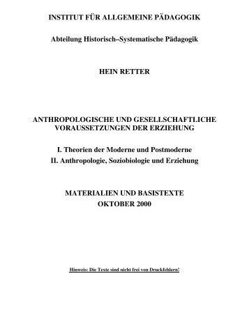 INSTITUT FÜR ALLGEMEINE PÄDAGOGIK Abteilung Historisch ...