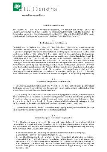 Habilitationsordnung - TU Clausthal
