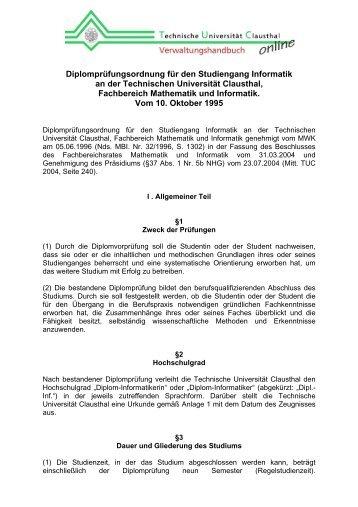 Diplomprüfungsordnung für den Studiengang ... - TU Clausthal