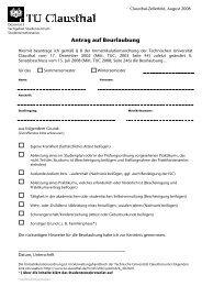Antrag auf Beurlaubung - TU Clausthal