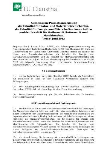 Gem. Promotionsordnung der Fakultäten f. Natur- u ... - TU Clausthal