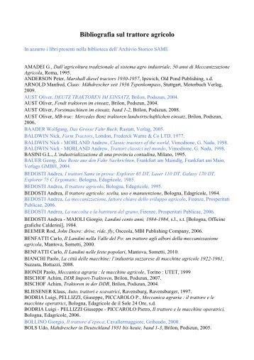 Bibliografia sul trattore agricolo - Same, Archivio storico