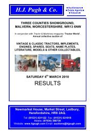 vintage & classic tractors, implements - HJ Pugh & Co Auctioneers