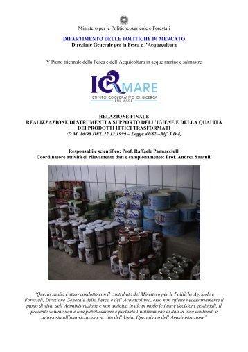 realizzazione di strumenti a supporto dell'igiene e della ... - ICR Mare
