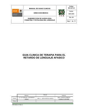 guia clinica de terapia para el retardo de lenguaje afasico