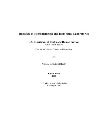 Biosafety in Microbiological and Biomedical Laboratories