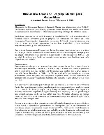 Diccionario Texano de Lenguaje Manual para Matemáticas