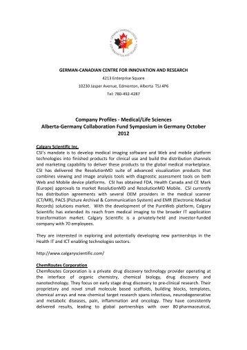 Company Profiles - Medical/Life Sciences ... - TUM-Tech GmbH
