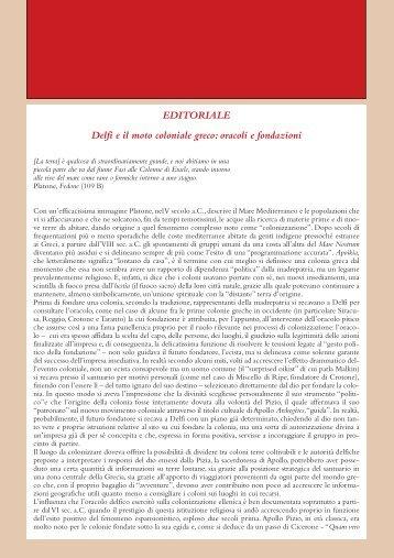 EDITORIALE Delfi e il moto coloniale greco: oracoli e fondazioni