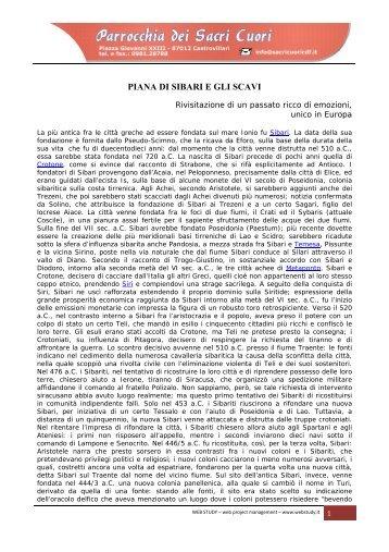 PIANA DI SIBARI E GLI SCAVI - Sacricuoricdf.it