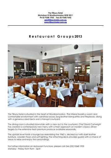 Restaurant Groups 2013 - The Tilbury Hotel