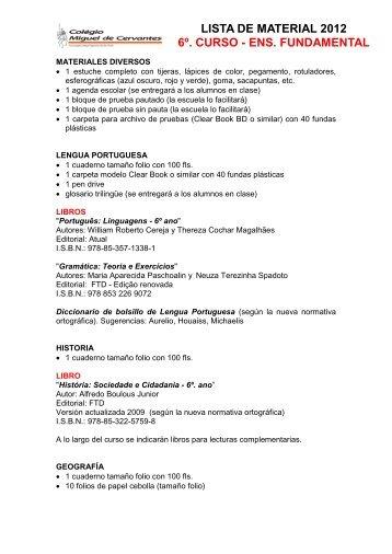 LISTA DE MATERIAL 2012 6º. CURSO - ENS. FUNDAMENTAL