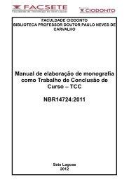 Manual de elaboração de monografia como Trabalho de ... - Facsete