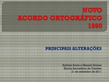 NOVO ACORDO ORTOGRÁFICO - Escola Secundária de Camões