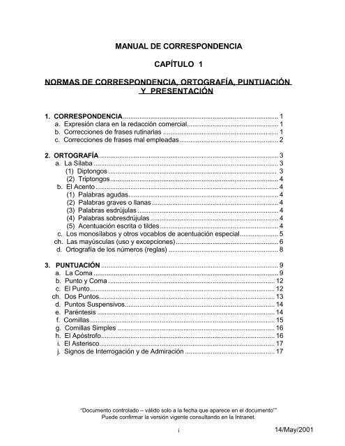 Manual De Correspondencia Capítulo 1 Normas Canal De
